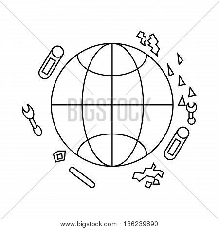 Polluted planet icon in outline style isolated on white background