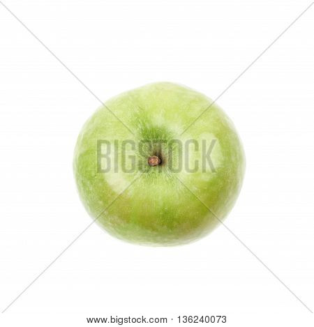 Single ripe and green granny Smith apple isolated over the white background, top view above foreshortening