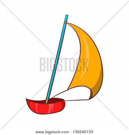 Yacht icon in cartoon style isolated on white background. Maritime transport symbol