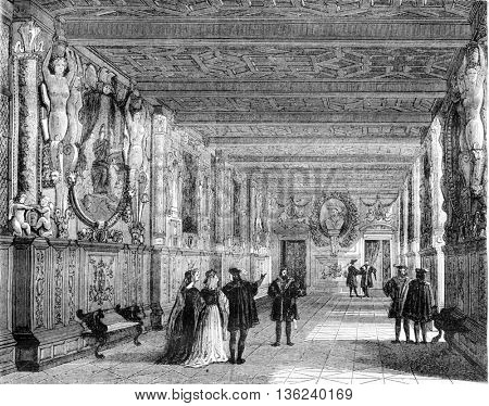 Fontainebleau castle, Inside view of the gallery of Francis I, vintage engraved illustration. Magasin Pittoresque 1843.