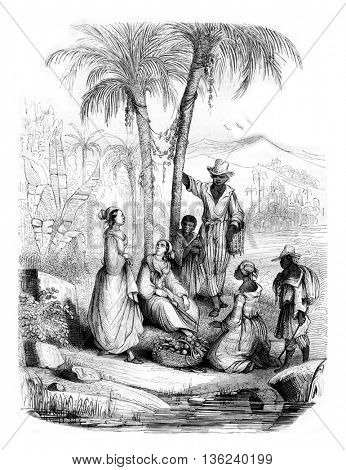 Customs of the West Indies, vintage engraved illustration. Magasin Pittoresque 1842.
