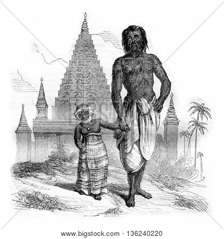 Shwe Maong, age thirty, and his daughter, senior two and a half years, vintage engraved illustration. Magasin Pittoresque 1842.