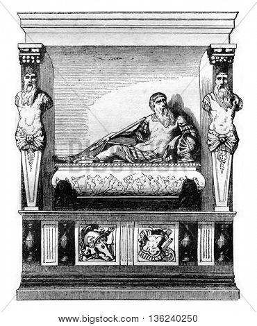 Mausoleum Langey Guillaume du Bellay at Le Mans, vintage engraved illustration. Magasin Pittoresque 1842.