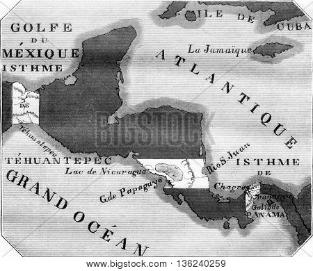 Map showing the three main projects for the junction of the Atlantic Ocean and the Great Ocean, vintage engraved illustration. Magasin Pittoresque 1843.