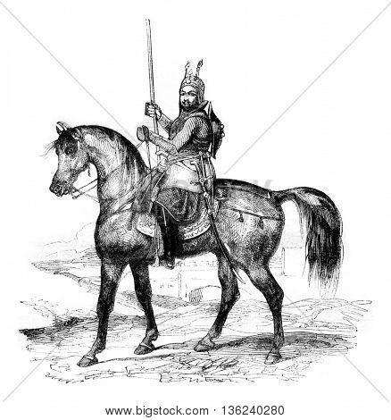 Akbar Khan, son of Dost Mohammad Khan, vintage engraved illustration. Magasin Pittoresque 1843.