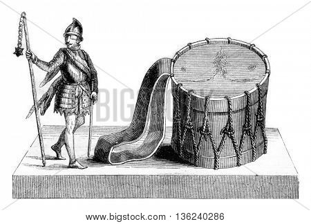 Club or Scourge Ziska, Drum made with skin Ziska, vintage engraved illustration. Magasin Pittoresque 1843.