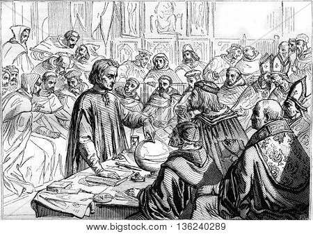 1843 Exhibition of Painting, Christopher Columbus before the Salamanca Board, vintage engraved illustration. Magasin Pittoresque 1843.