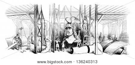 Workshop of Mr. Ernest sculptor Bandol or one voil fragments of the statue of Arminius, vintage engraved illustration. Magasin Pittoresque 1843.