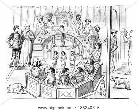 The Knights of the Round Table, vintage engraved illustration. Magasin Pittoresque 1843.