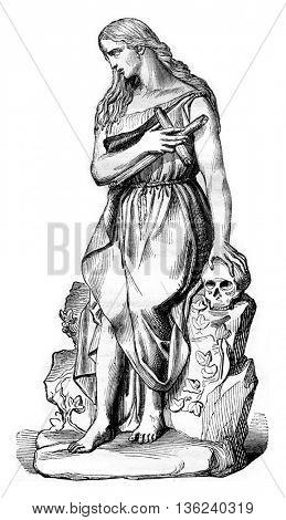 1843 Sculpture Show, Madeleine, vintage engraved illustration. Magasin Pittoresque 1843.