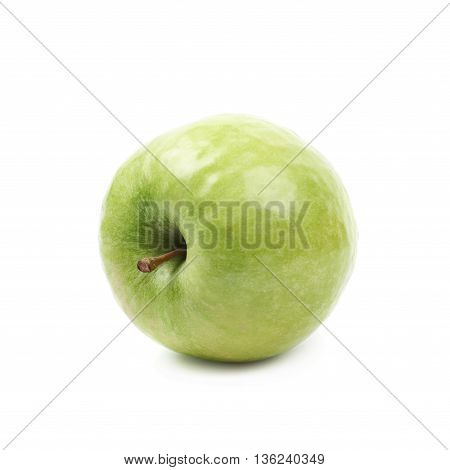 Single ripe and green granny Smith apple isolated over the white background