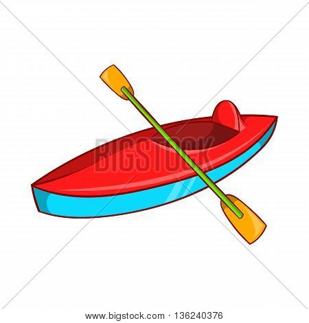 Kayak icon in cartoon style isolated on white background. Swimming in river symbol