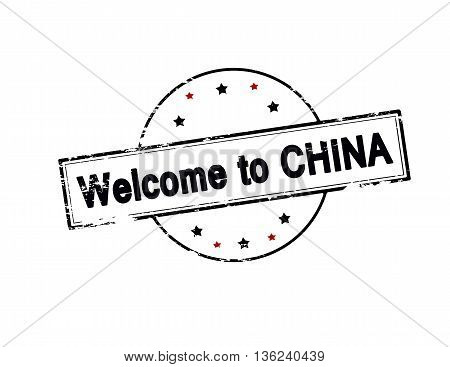 Rubber stamp with text welcome to China inside vector illustration