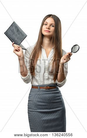 Cutout business woman holding a book and magnifier. Smart staff. Success and development. Business staff. Office clothes. Learning and teaching. Study process.