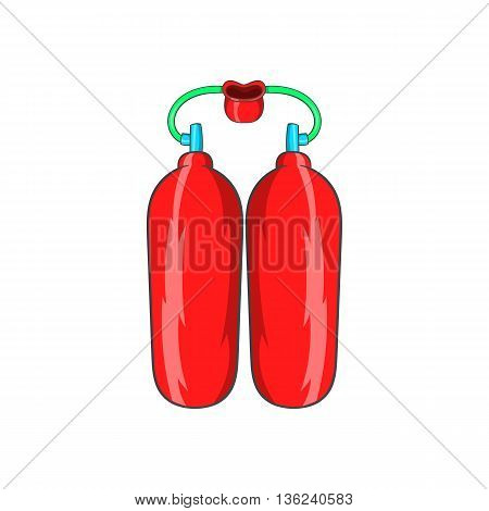 Cylinders for diving icon in cartoon style isolated on white background. Swimming symbol