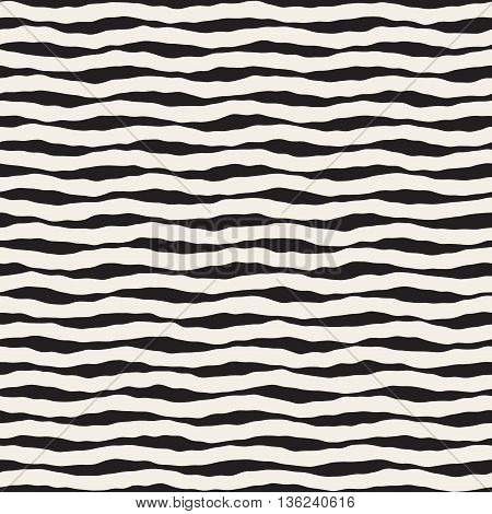 Vector Seamless Black And White Hand Drawn Horizontal Wavy Lines Pattern. Abstract Freehand Background Design