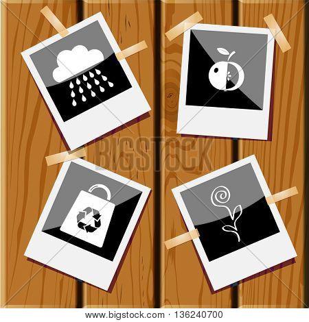 4 images: flower, apple, bag, rain. Nature set. Photo frames on wooden desk. Vector icons.