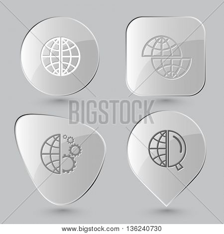 4 images: globe, shift globe,  and gears, and magnifying glass. Globe set. Glass buttons on gray background. Vector icons.