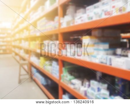 Blurred pharmacy store and drug for design
