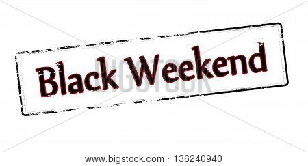 Rubber stamp with text black weekend inside vector illustration
