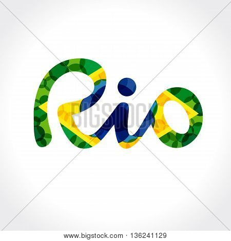 Welcome to Rio de Janeiro banner. Inscription Rio Brazil vacation on a background vector colored bubles in colors of the Brazilian flag