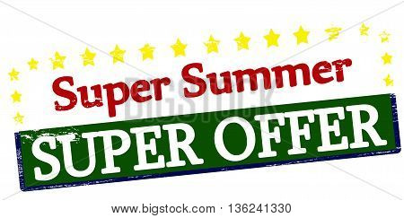 Rubber stamp with text summer super offer inside vector illustration
