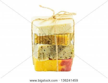 Handmade color organic soap bars isolated on white background