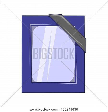 Photos of deceased with ribbon icon in cartoon style isolated on white background. Death symbol