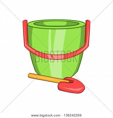 Children bucket with shovel icon in cartoon style isolated on white background. Games and toys symbol