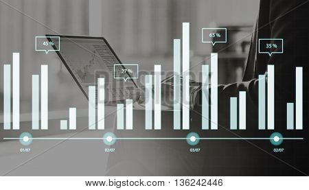 Graph Data Analysis Research Report Statistics Growth Chart Concept