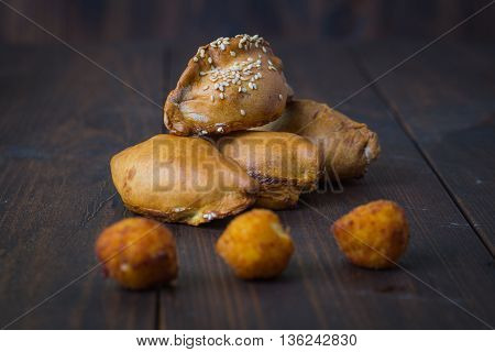 Empanadas - Argentine Fried Meat Pies.wooden Background
