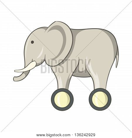 Toy elephant on wheels icon in cartoon style isolated on white background. Games and toys symbol