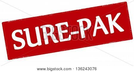 Rubber stamp with text sure pak inside vector illustration