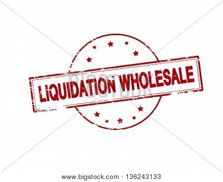 Rubber stamp with text liquidation wholesale inside vector illustration