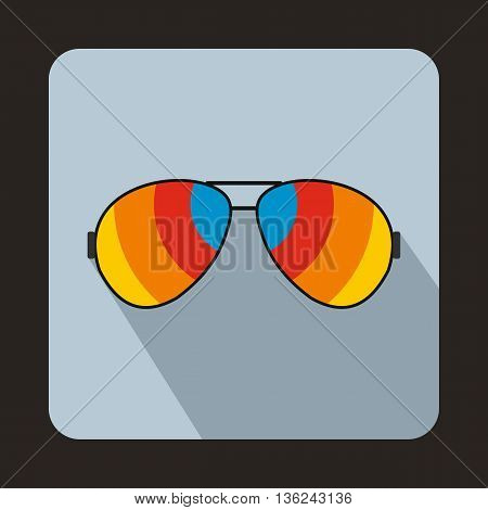 Glasses with rainbow lenses icon in flat style on a light blue background