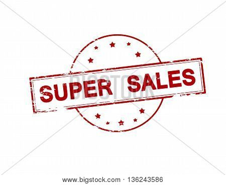Rubber stamp with text super sales inside vector illustration