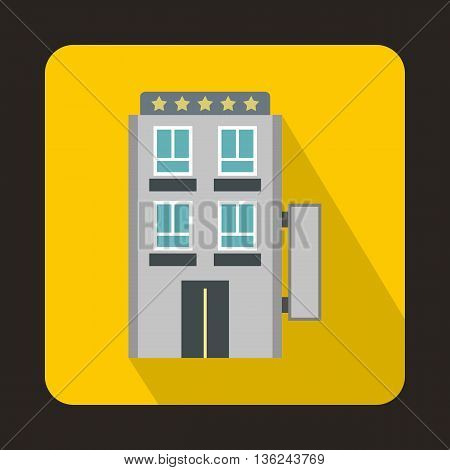 Five star hotel icon in flat style on a yellow background