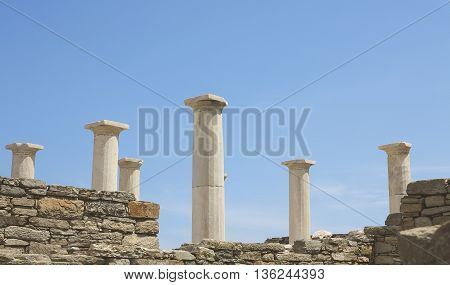Landscape with ancient Roman time columns in Delos island