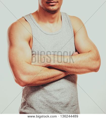 Sporty And Healthy Muscular Man Body