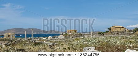 Landscape with ancient Roman time columns at Delos island