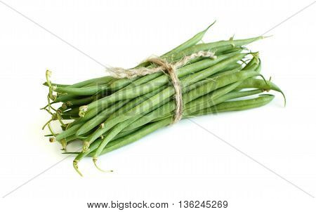 Green french beans isolated on a white background
