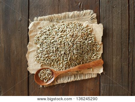 Pile of Dry Raw Rye Grain with a spoon