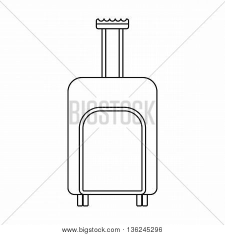 Travel suitcase icon in outline style isolated on white background