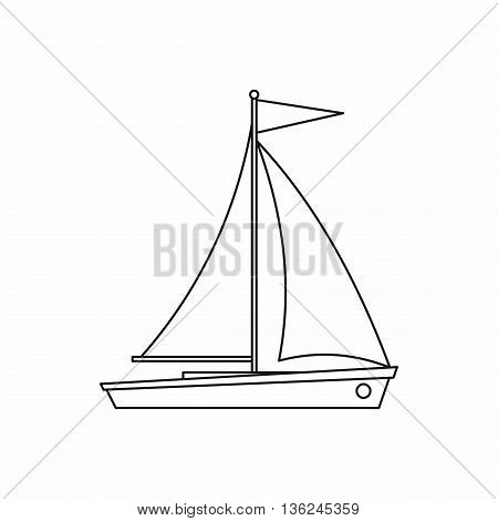 Yacht icon in outline style isolated on white background