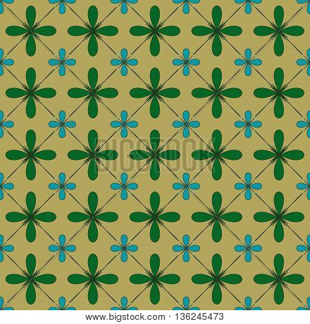 Flower and square seamless pattern. Fashion graphic background design. Modern stylish abstract texture. Colorful template for prints textiles wrapping wallpaper website etc. VECTOR illustration.
