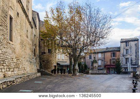 GORDES, FRANCE - DECEMBER 6, 2015: Tranqullity in the medival village of Gordes the Luberon Region of Provence France