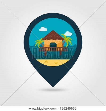 Bungalow with palm trees vector pin map icon. Beach Map pointer. Summer Map markers. Summertime. Vacation eps 10