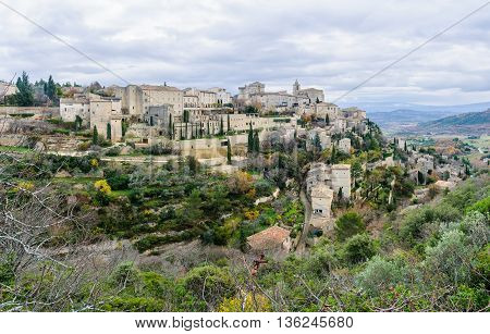 Panoramic Scenery In Gordes, Provence, France