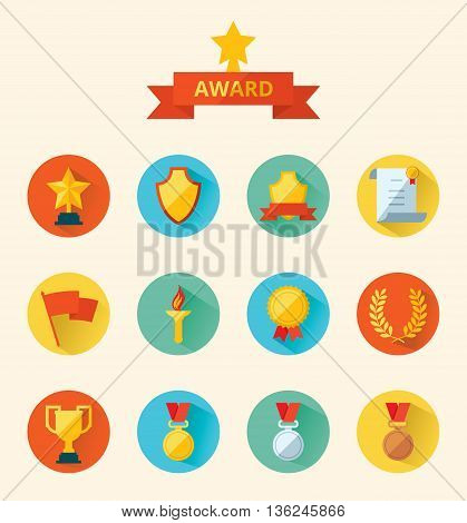 Set of flat vector icons sports awards achievements and trophy