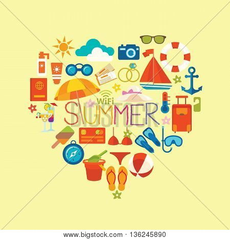 Set symbols and icons summer and vacation on the beach vector illustration